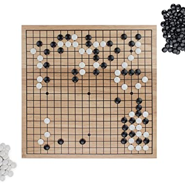 Go Set with Natural Wood Board   Portable 29 x 29cm (11.4  x 11.4 ) Set   Complete Set of 361 Stones   19x19 Grid Layout, Portable Size for Travel   2-Player - Classic Chinese Strategy Board Game