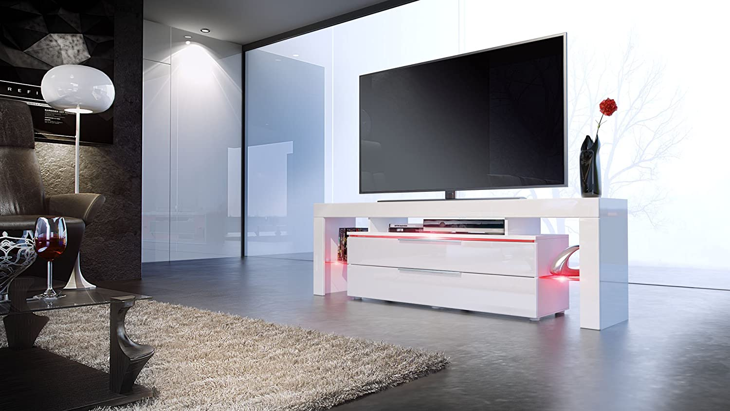 Tv Stand Unit Lima Nova Carcass In White Matt Front In White  # Meuble Tv Stars