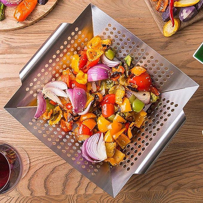 Barbacoa Cesta vegetal, Run Ant Acero inoxidable Vegetal Grill Basket Barbecue Pan para asar y asar verduras, carne, pescado, camarón y fruta