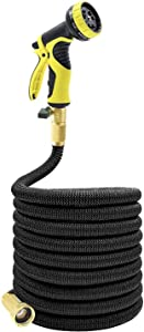 Tespressolife Strongest Flexible Garden Hose Expandable Stretch Hosepipe Comes with 10 Pattern Spray Nozzle for All Watering Needs, Black (100)