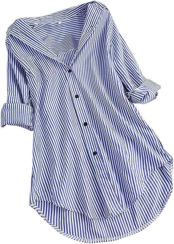 Damen Bluse Hemd Shirts T-Shirt Oberteil Tops Blau Streifen Langarm S-3XL