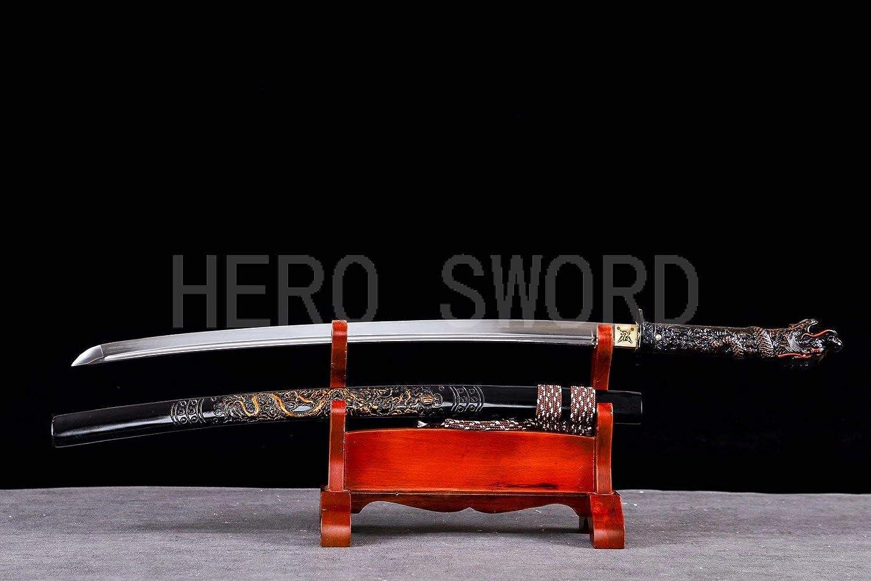 Black Lacqured Wood Shirasaya Katana Handmade T1095 Steel Japanese Samurai Sword