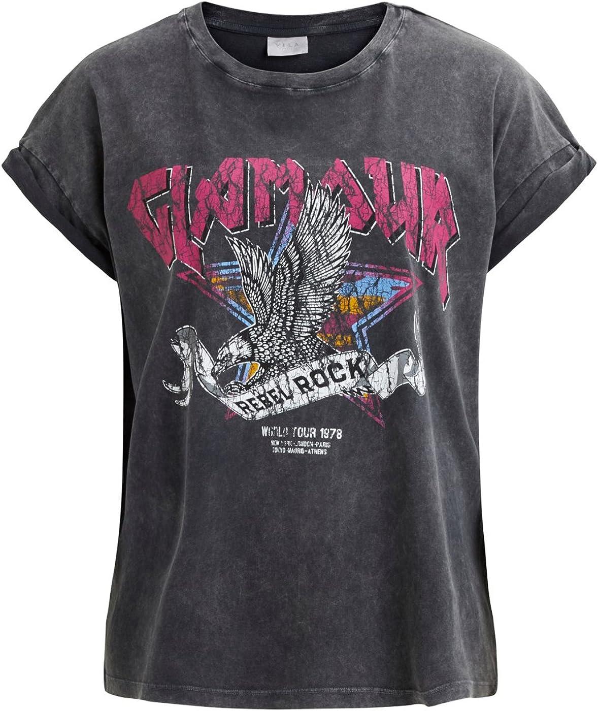 Vila Camiseta rockera Negra VISASELINA Clothes (L - Negro): Amazon.es: Ropa y accesorios