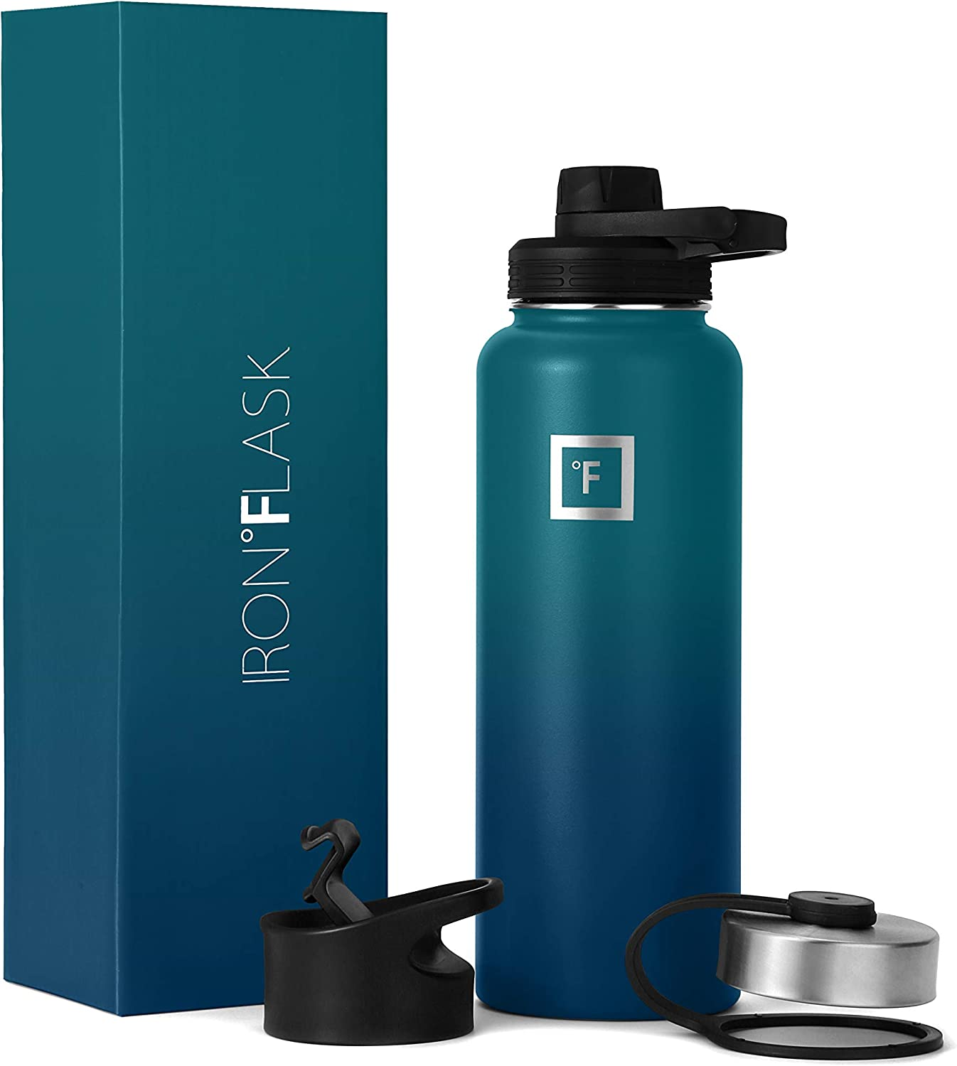 IRON °FLASK Sports Water Bottle - 14oz,18oz,22oz,32oz,40oz, or 64oz, 3 Lids (Spout Lid), Vacuum Insulated Stainless Steel, Hot Cold, Modern Double Walled, Simple Thermo Mug, Hydro Metal Canteen