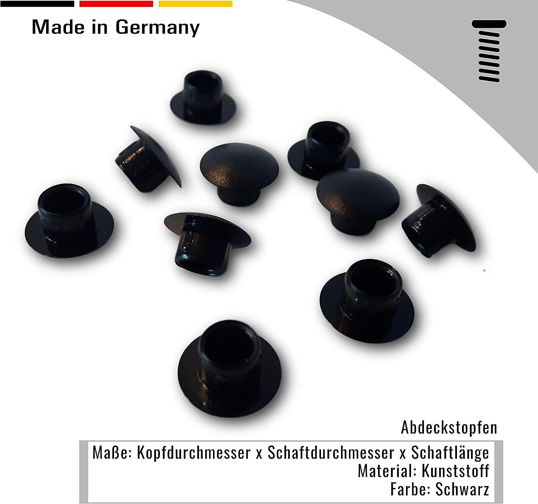schwarz f/ür Bohrungen 50 St Abdeckstopfen Kunststoff