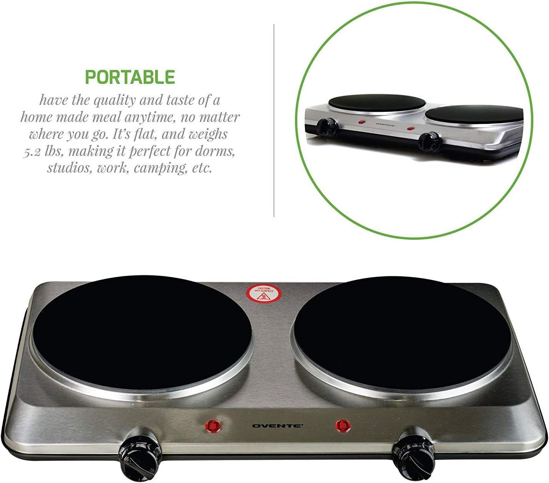 Amazon Com Estufa Cocina Electrica De 2 Hornillas Portatil Para