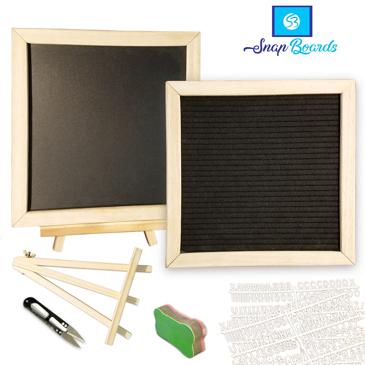 Snap Boards Double Sided Felt Letter Board and Chalkboard Set, 10 X 10 Inch Oak Wood Frame, 340 Letters/Characters, Chalk Markers, Letter Bag, Easel Stand, Cloth Eraser, and Scissors
