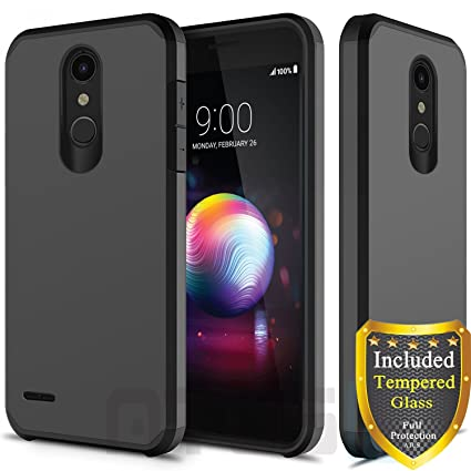 ATUS LG K30, LG Harmony 2, LG Phoenix Plus, LG Premier Pro, LG Xpression  Plus, LG K10 2018 Case, with Full Cover Tempered Glass Screen Protector,