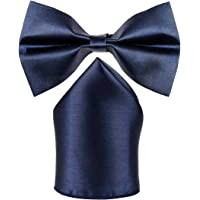 Sorella'z Mens Satin Navy Blue Bowtie with Pocket Square