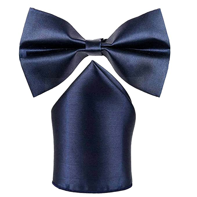 25eae6f76870 Sorella'z Mens Satin Navy Blue Bowtie with Pocket Square: Amazon.in:  Clothing & Accessories