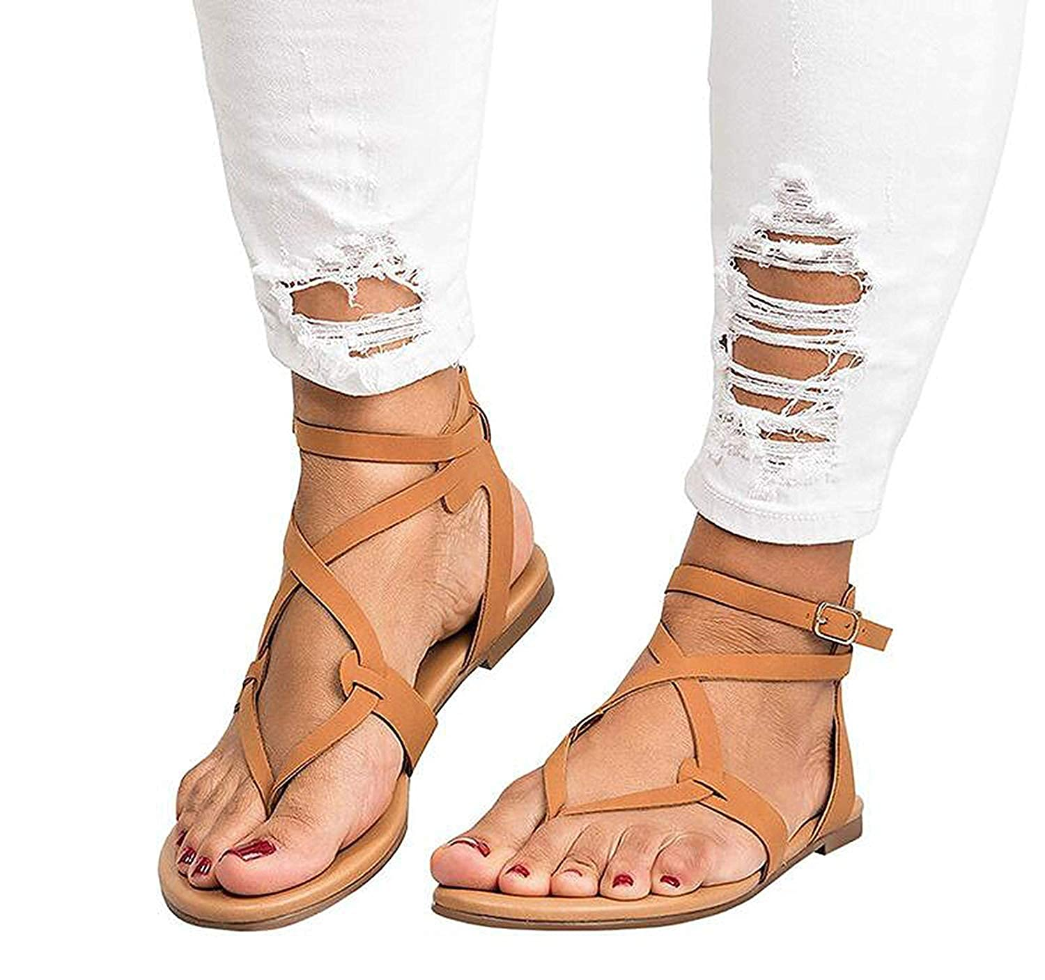 560662989 Amazon.com | 2019 Shoes Woman Bandage Summer Female Flat Sandals Casual Low  Heels Ankle Strap Women Sandals | Flats