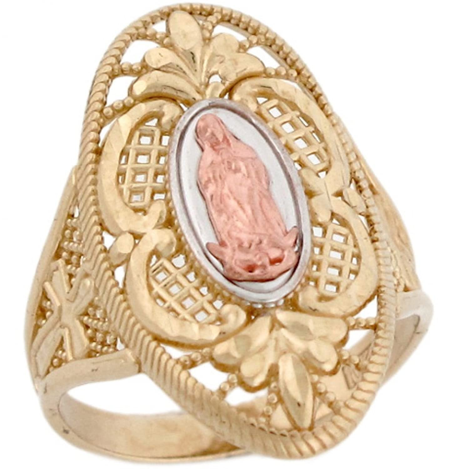 14k 3 Color Gold Virgin Mary Guadalupe Cross on The Sides Unique Ring