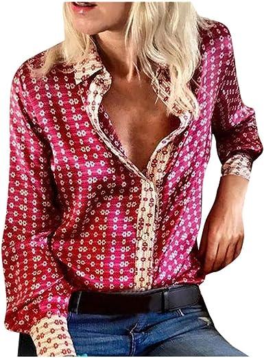 Bluas de Mujer Camisa Cuello en V Mujer Manga Larga Estampado de Botones Camisa Suelta Casual Jersey Camiseta Tops Otoño e Invierno Tallas Grandes: Amazon.es: Ropa y accesorios