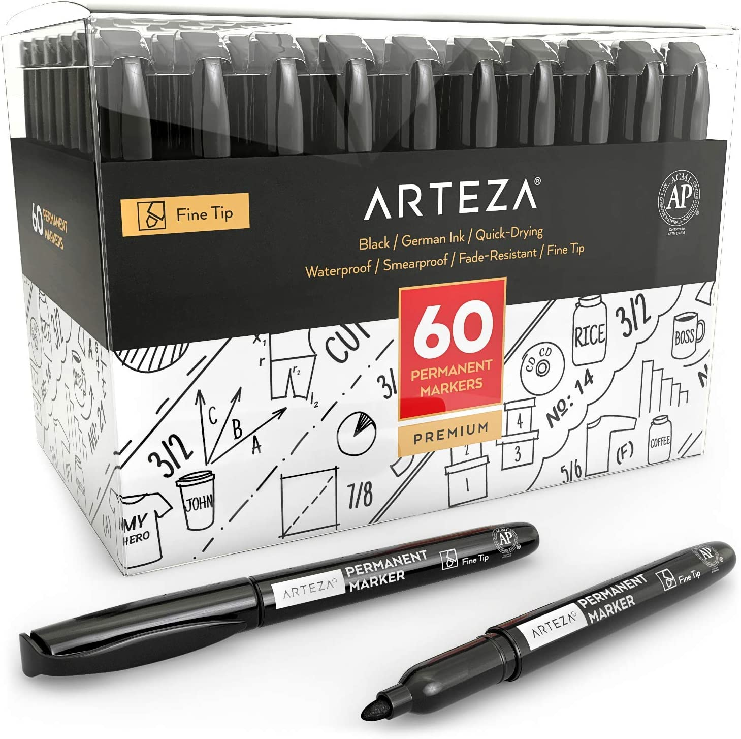 ARTEZA Permanent Markers Set of 60 (Black, Fine Tip) - Waterproof Markers - Premium Smear Proof Pens - Waterproof - Quick Drying