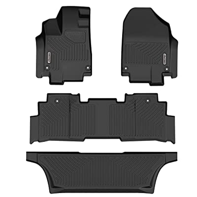 oEdRo Floor Mats Compatible for 2020-2020 Honda Odyssey, Unique Black TPE All-Weather Guard Includes 1st, 2nd and 3rd Row: Full Set Liners: Automotive