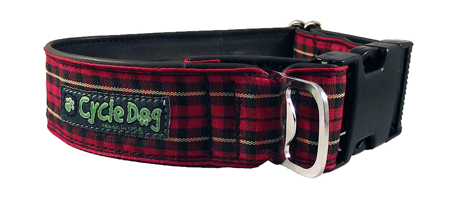 Cycle Dog Bottle Opener Recycled Dog Collar, Wide Width, Red Plaid, Large