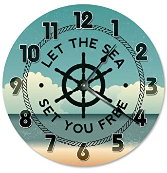 LET THE SEA SET YOU FREE CLOCK Decorative Round Wall Clock Home Decor Large  10.5u0026quot;