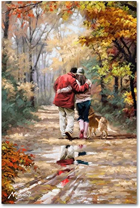 Amazon Com Couple Walking By The Macneil Studio 30x47 Inch Canvas Wall Art Posters Prints