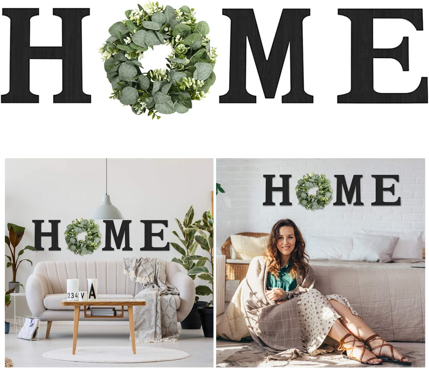 Hanging Wood Home Sign with Artificial Eucalyptus Wreath for O, Wall Hanging Decor - Wood Home Letters for Wall Art Rustic Home Decor, Wall Decor for Living Room Kitchen Housewarming Gift