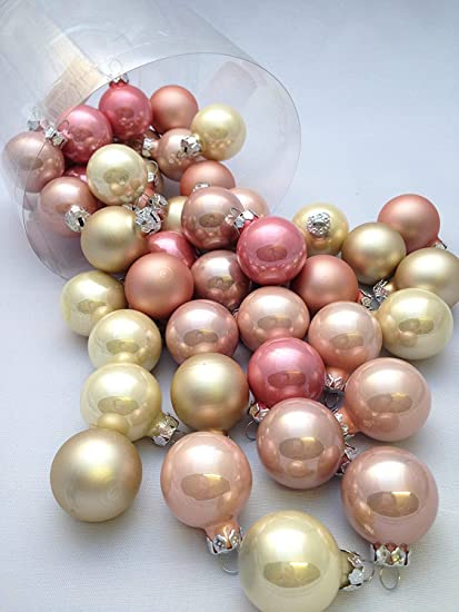 45 Pc Mini Pink Gold Beige Decorative Hanging Ornaments Indoors Glass Xmas Christmas Tree Decor Ball Bauble Party Home Holiday Decorations