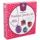 Pinwheel Crafts Jewelry Making Kit for Girls - Jewelry Craft Kit, Custom Glass Pendant Necklace Set for Kids or Teen Girl Gifts, Make 8 Necklaces with Step-by-Step Instructions and Craft Supplies