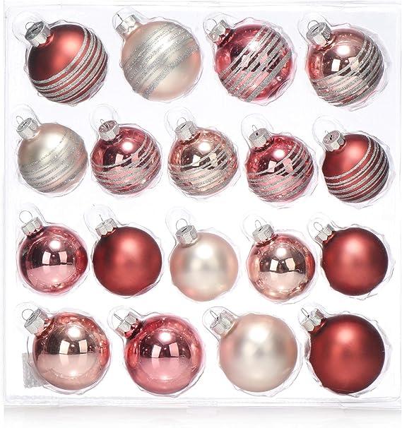 com-four® Bola de árbol de Navidad 18x en Diferentes tamaños - Bola de Navidad para el árbol de Navidad - Decoraciones para árboles de Navidad Hechas de Vidrio (18 Piezas - Rosa):