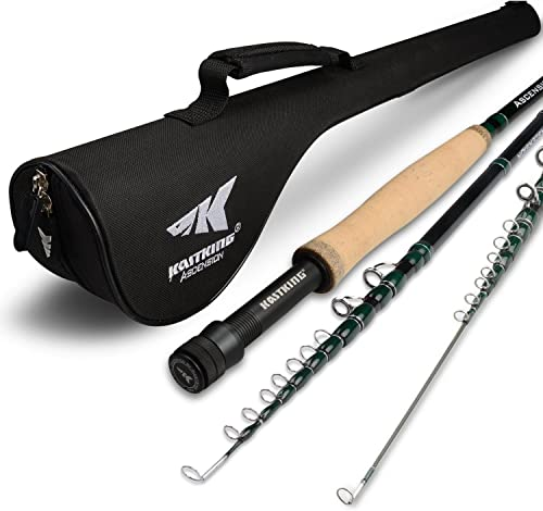 KastKing New Ascension Soloscopic Fly Rod and Combos, IM6 Graphite Blank, Fixed Floating Guides, CNC Aluminum Reel with Line Backing, Lightweight Travel Storage Case