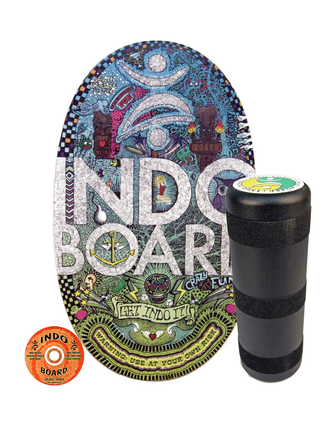 INDO BOARD Original Balance Board with 6.5'' Roller and 30'' X 18'' Non-Slip Deck - Doodle Design by INDO BOARD (Image #1)