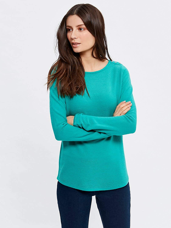 M/&Co Ladies Long Sleeve Button Shoulder Jumper