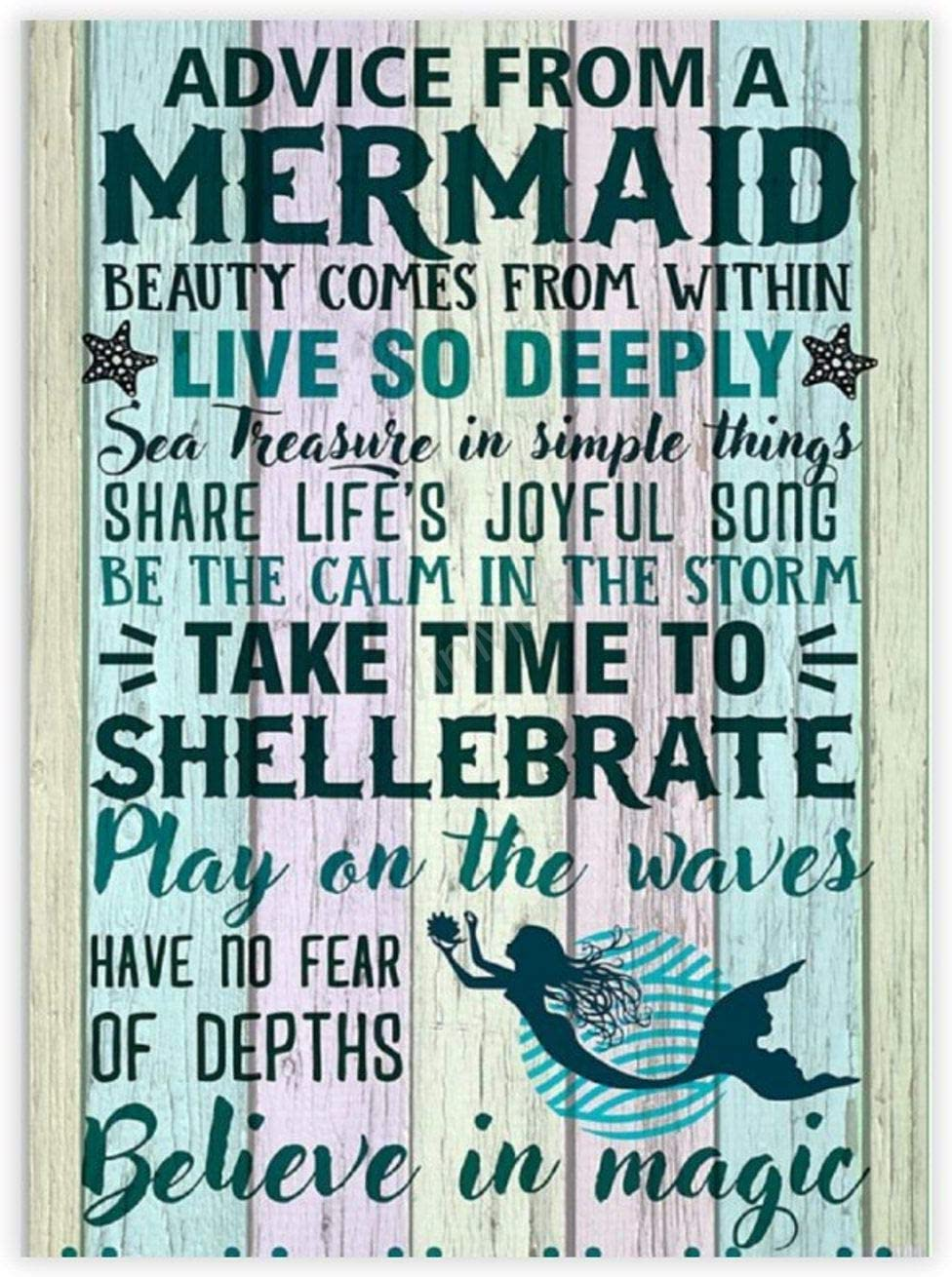Wood Plank Board,Wall Art Wooden Wall Hanging Art Advice From A Mermaid Inspirational Farmhouse Wall Plaque 8