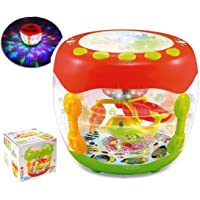 MousePotato Flash Drum Rotating 3D Lights & Fishes with Music, Songs & English Leraner