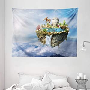 "Ambesonne Fantasy Tapestry, Island with Dragon Castle Tower Waterfall and Flipped Mountain in Space Image, Wide Wall Hanging for Bedroom Living Room Dorm, 80"" X 60"", Pale Blue"