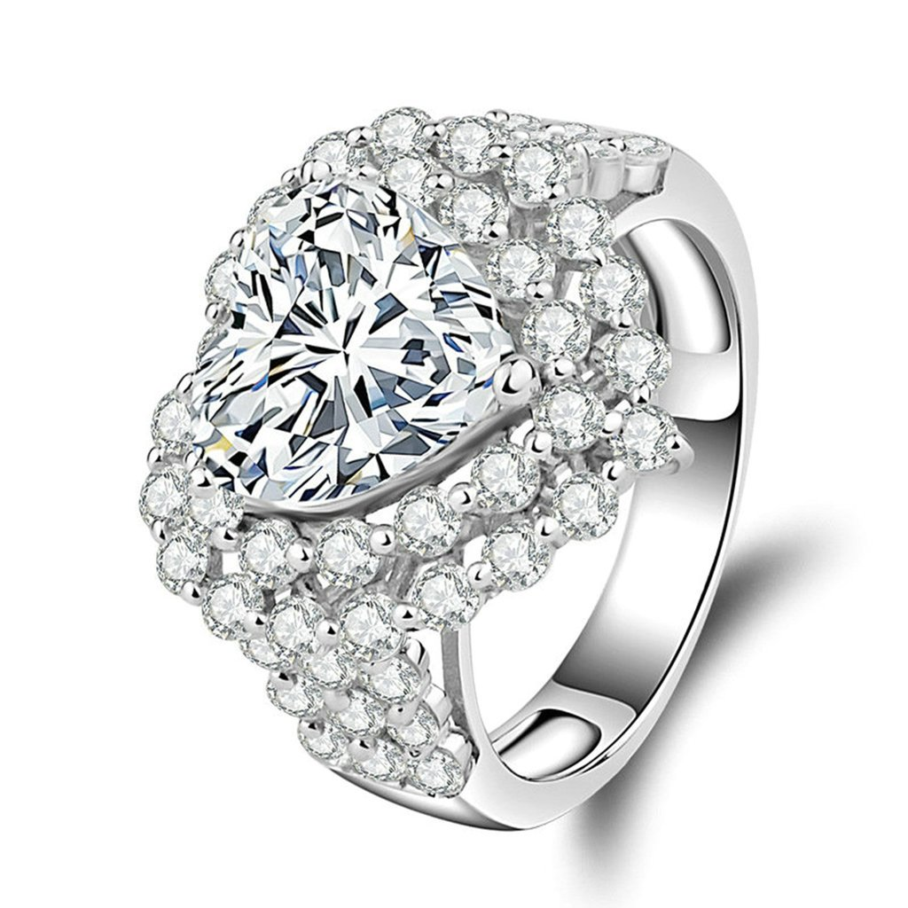 Daesar Silver Plated Rings Womens Engagement Rings Promise Custom Ring Heart Cubic Zirconia Ring