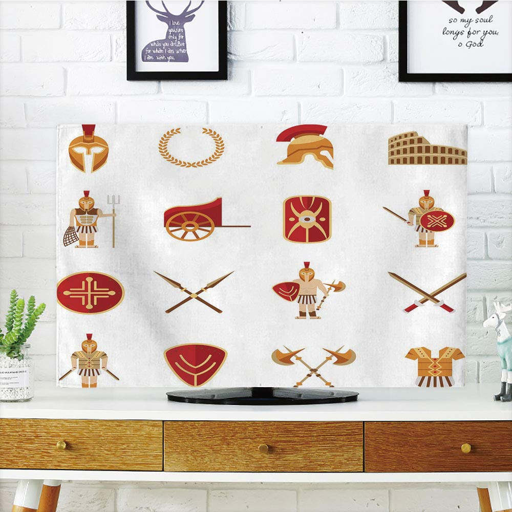 iPrint LCD TV Cover Lovely,Toga Party,Fighters Gladiators Greek Antiquity Warriors Icons Set in Graphic Style Decorative,Orange Brown Red,Diversified Design Compatible 50''/52'' TV by iPrint (Image #1)