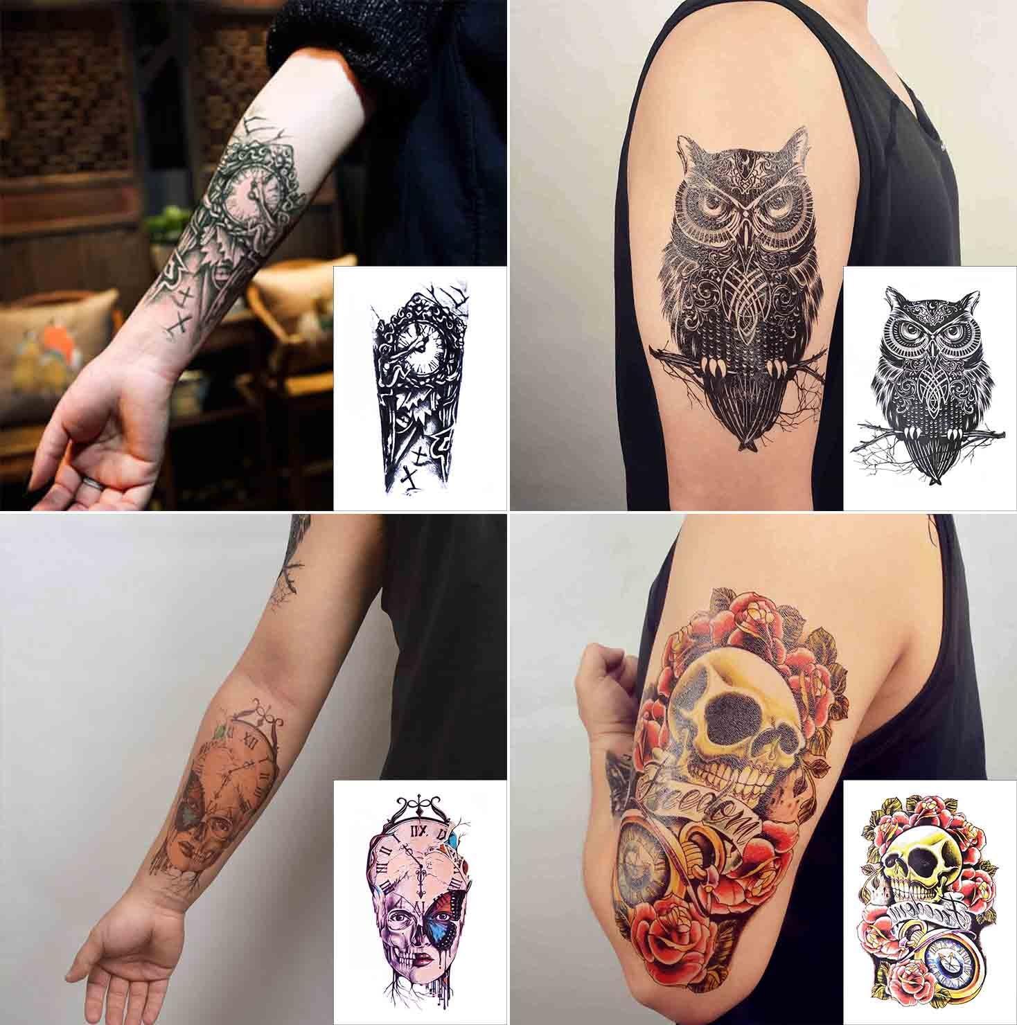 COKOHAPPY Grande Temporales Tatuaje 4 Diferente hoja Rosa Cráneo ...