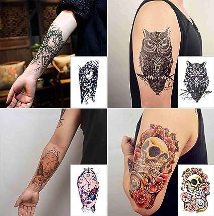 COKOHAPPY Grande Temporales Tatuaje 4 Diferente hoja Rosa Cráneo Calavera Celtic Búho Reloj Máquina