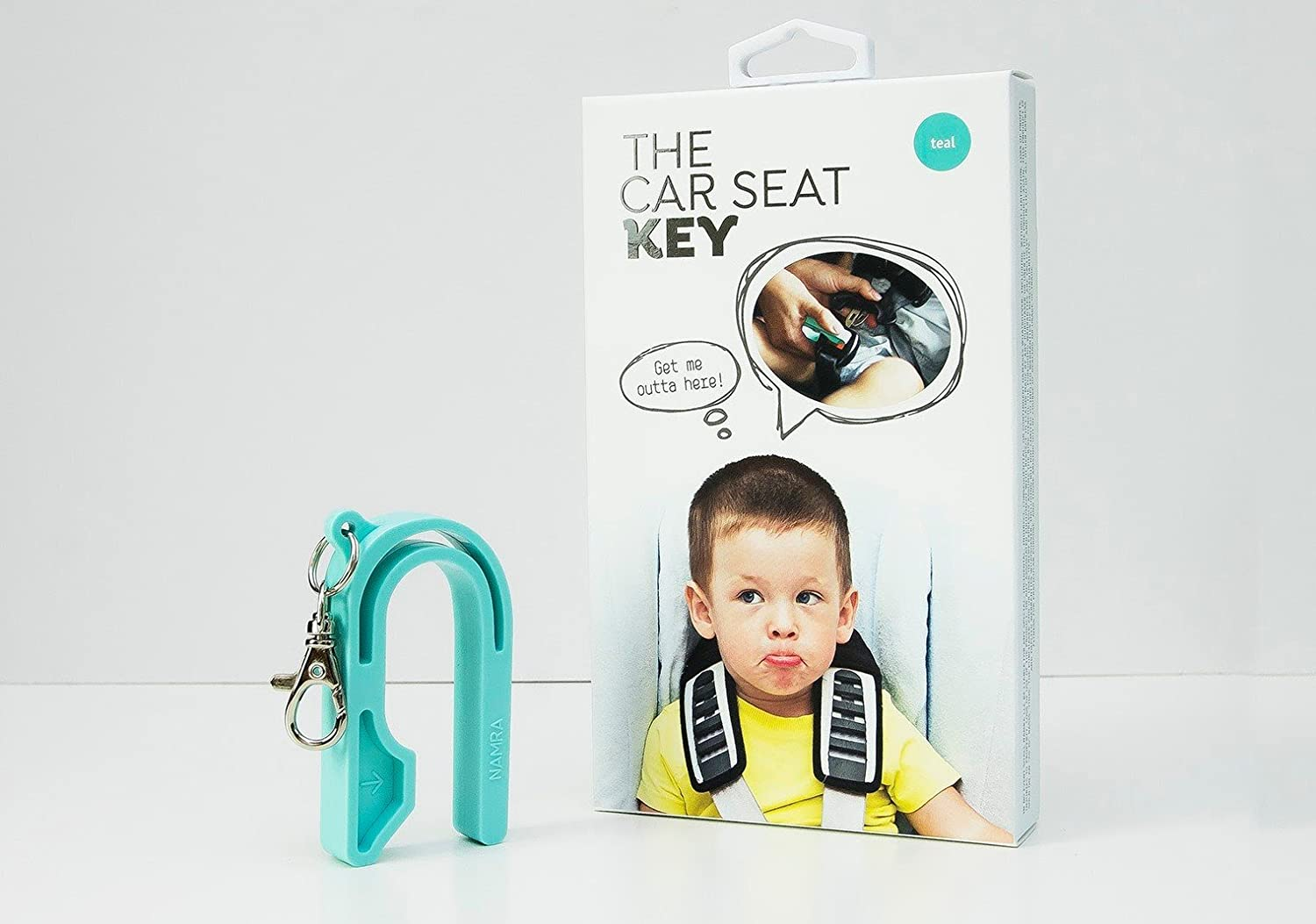 The Car Seat Key – Easy CAR SEAT UNBUCKLE by NAMRA Made in USA Teal
