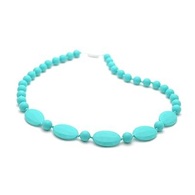 Bitey Beads Silicone Chewable Teething Nursing Necklace 32'' (Turquoise) : Baby