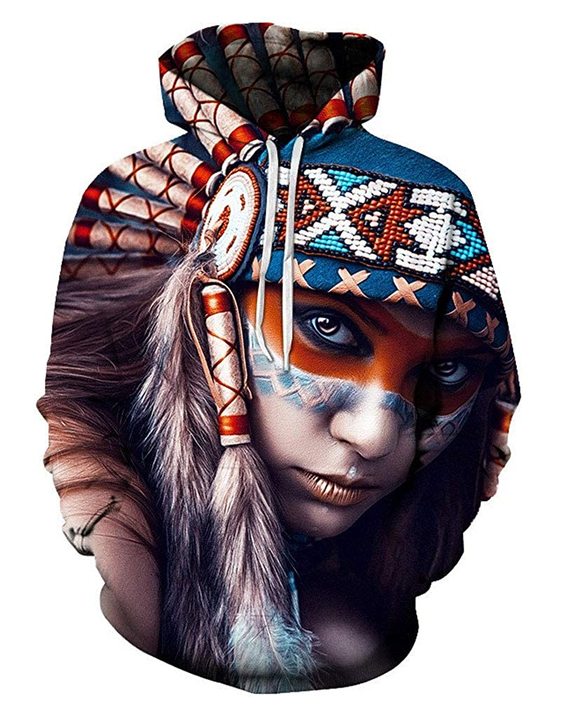 Doxi Native American Indian Print 3D Hoodies Hip Hop Streetwear Indian Girls Sweatshirts
