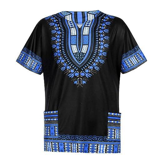 e1a647924de Vicbovo Clearance Men s African Print Dashiki T-Shirt Summer Short Sleeve  Fashion Tops Tee with