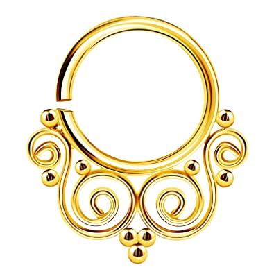 2e32a43e69441 Stainless Steel Annealed Nose Ring 16 Gauge 5/16 8mm Septum Earrings  Piercing Jewelry See More Colors