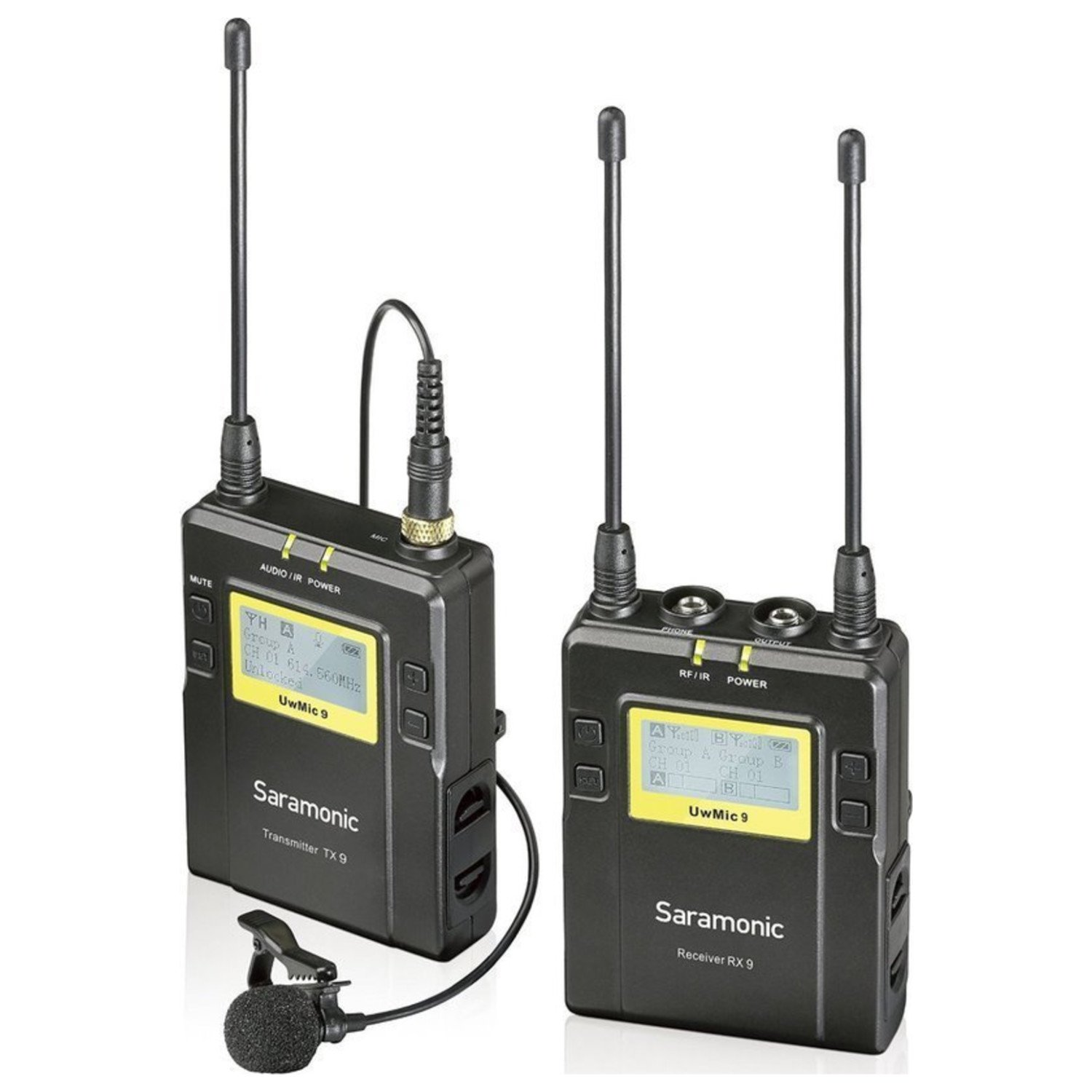 Saramonic UwMIC9 96-Channel Digital UHF Wireless Lavalier Microphone System, Includes RX9 Portable Receiver, TX9 Bodypack Transmitter