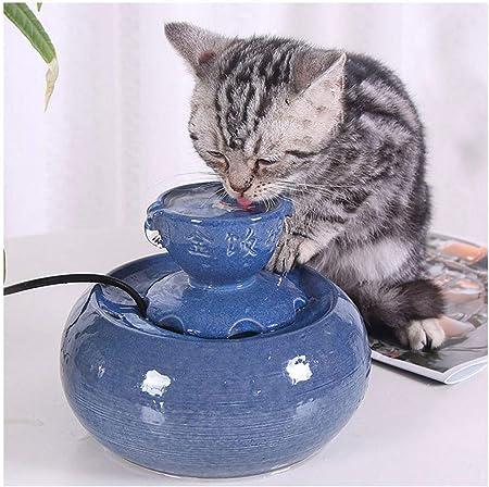 LONG-C Dispensador De Agua para Mascotas De Cerámica para Perros Gato Mascotas Bebedero De Agua Fuente para Mascotas Bebedero Automático De Agua: Amazon.es: Hogar