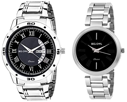 5b0acabf42 Buy BigOwl Men's and Women's Multicolour Analogue Wrist Watch Couple Combo  Online at Low Prices in India - Amazon.in