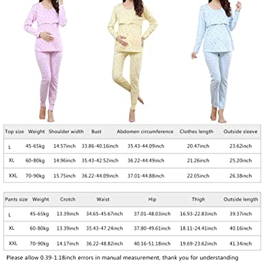 Pueri Pregnant Women Breastfeeding Pajamas Set Autumn Clothes and Pants Maternity Nightgown at Amazon Womens Clothing store: