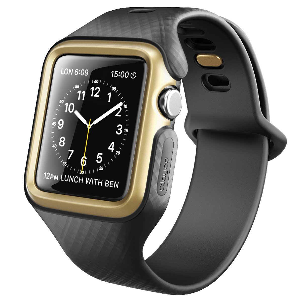 Clayco Apple Watch Band 42 mm, [Hera Series] Ultra Slim Protective Shock Resistant Bumper Case with Strap Bands for 42mm Apple Watch Series 3 2017/Series 2/Series 1 (Black/Gold) by Clayco