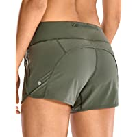 CRZ YOGA Women's Workout Sports Running Shorts Pants with Zip Pocket - 4 Inches