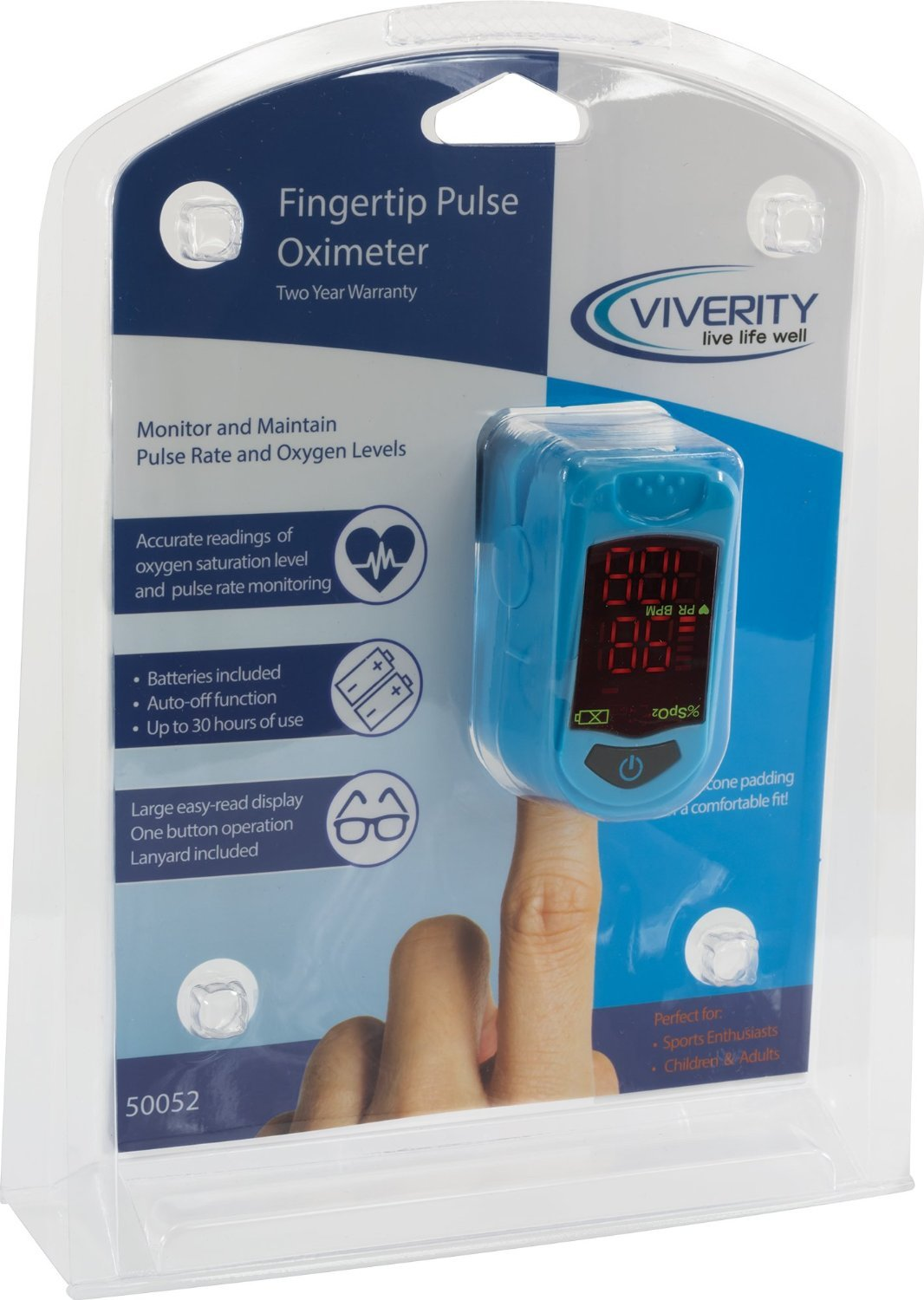 Viverity Pulse Oximeter Fingertip Oxygen Saturation Monitor- Pulse Ox Oxygen Monitor - OTC Finger Heart Rate Monitor, Pediatric and Adult Use by Roscoe Medical