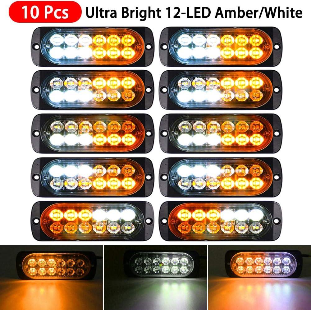 10pcs White 12 LED Strobe Lights Car Truck Flash Warning Hazard Emergency Lamps
