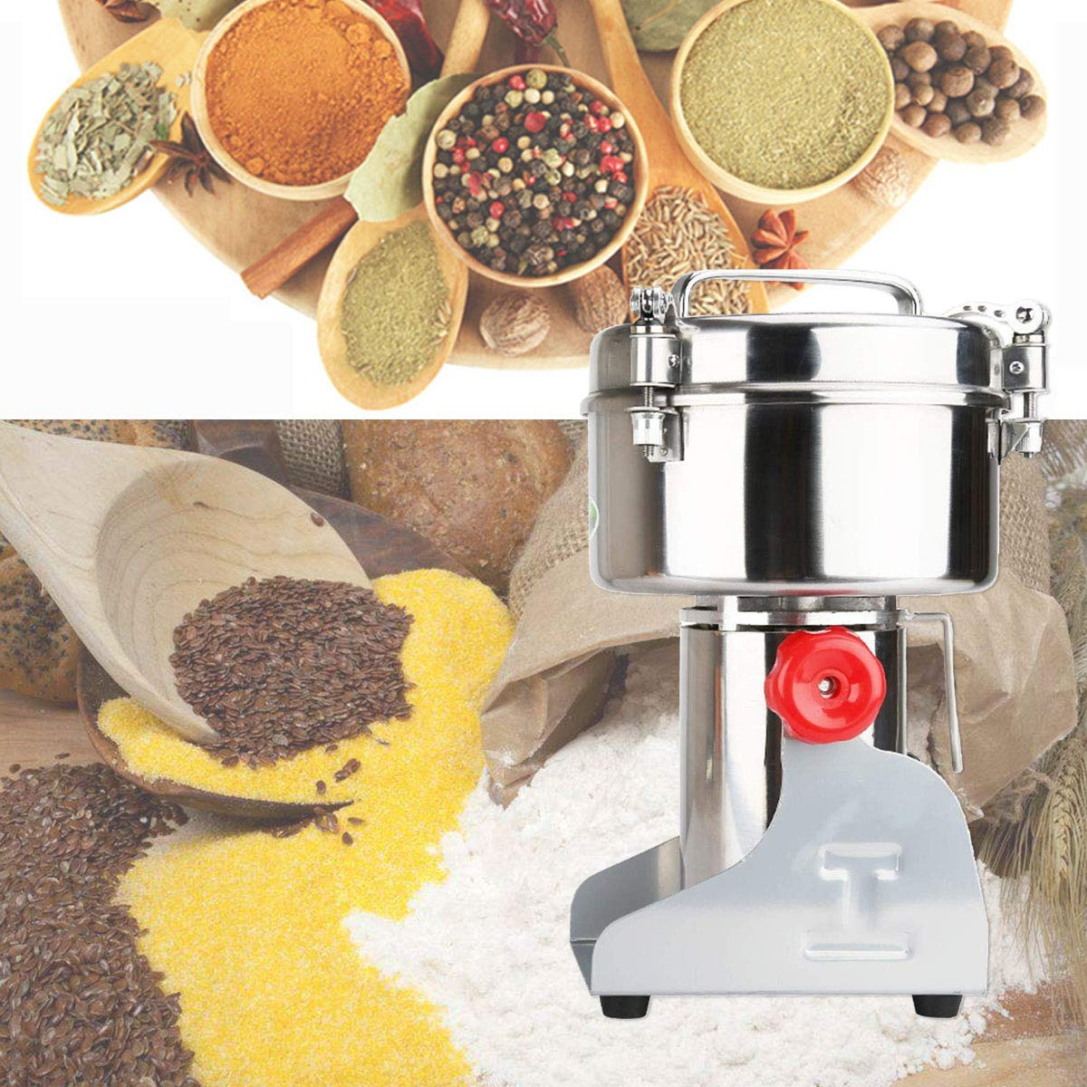 RRH 1000G Swing Type Grain Mill Electric Spice Nut and Coffee Grinder High Speed 25000 RPM Stainless Steel 2800W Powder Machine 50-300 Mesh, for Herbs Corn Sesame Soybean Pepper Bait Feed by RRH (Image #3)